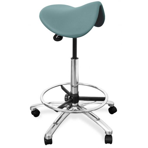 healthcare facility stool / height-adjustable / on casters / with footrest