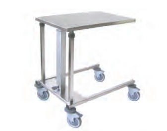 hydraulic instrument table / height-adjustable / stainless steel / with brake