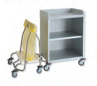 cleaning trolley / for linen / with shelf / with waste bag holder