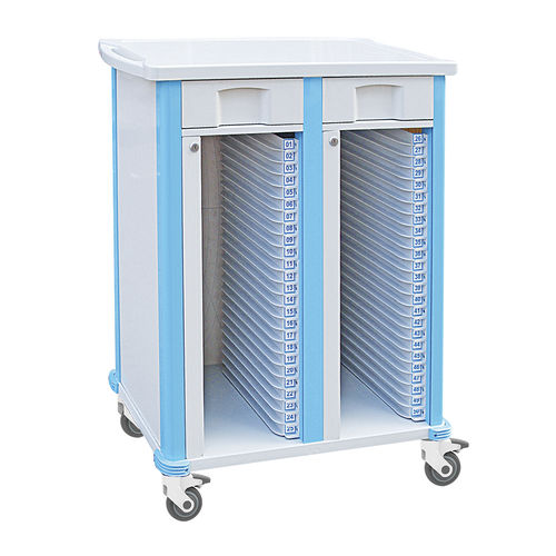 storage cart / medical records / 1-drawer / aluminum