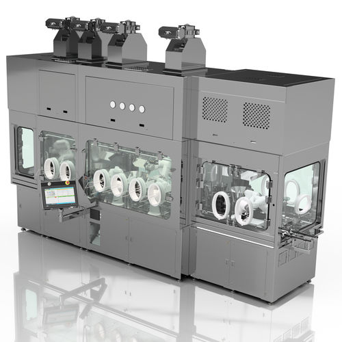 filling and closing machine for the pharmaceutical industry / for syringes / for vials / for cartridges