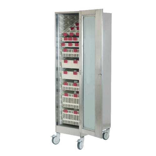 hospital cabinet / with door / with basket / with tray