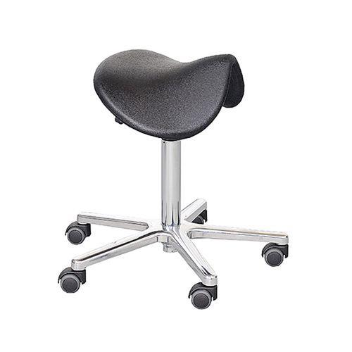 healthcare facility stool / height-adjustable / swivel / saddle seat
