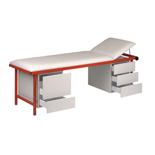 manual examination table / fixed-height / 2-section / with storage unit