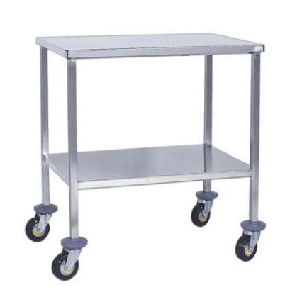 instrument table on casters / stainless steel / 2-shelf