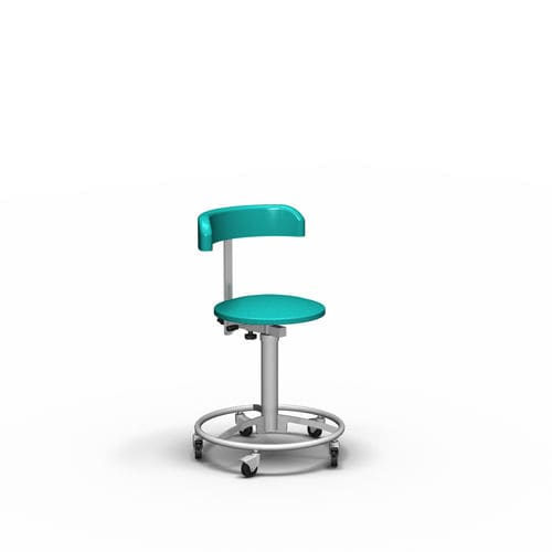 healthcare facility stool / height-adjustable / pneumatic / stainless steel