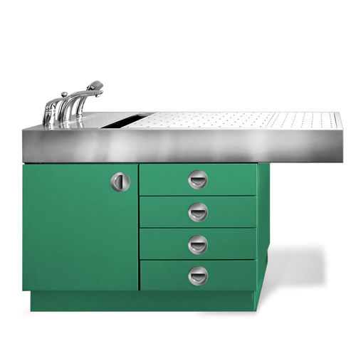 veterinary examination table / fixed-height / 1 section / with bath
