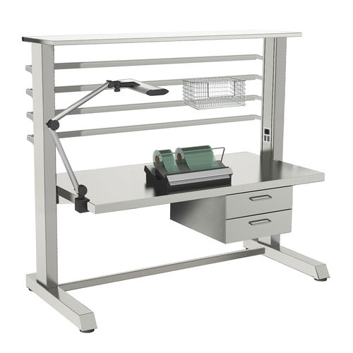 work table / medical instruments packing / rectangular / on casters