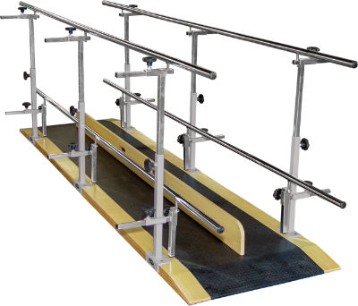 pediatric rehabilitation parallel bars / height-adjustable / with base