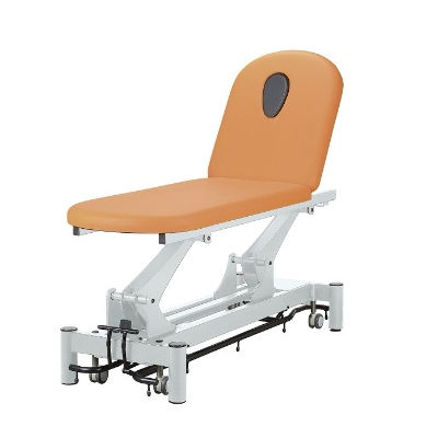 electric massage table / on casters / height-adjustable / 2-section
