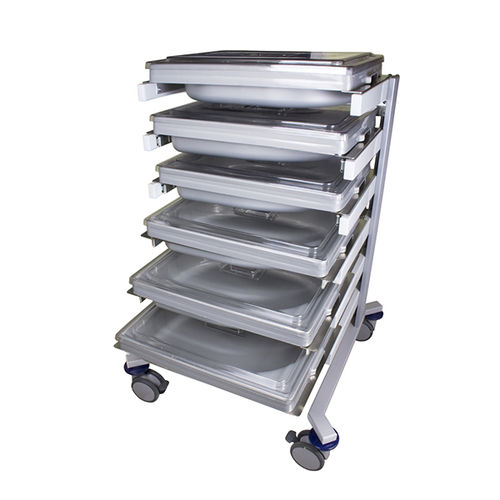 transport trolley / for endoscopes / for flexible endoscopes / with tray