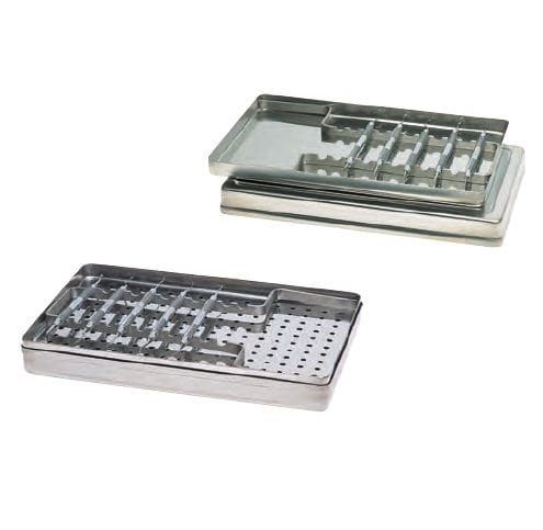 dental instrument sterilization tray / stainless steel / perforated / non-perforated