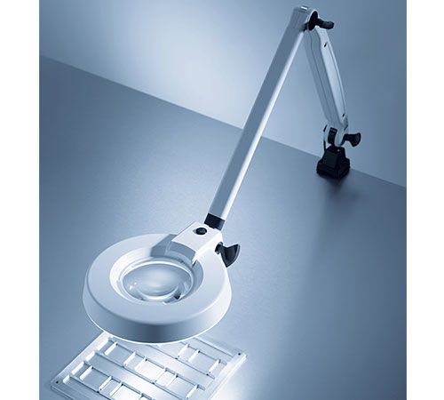inspection lamp / fluorescent / table / magnifying