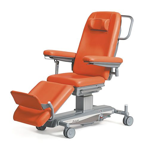 electric chemotherapy chair / 3-section / adjustable backrest / on casters