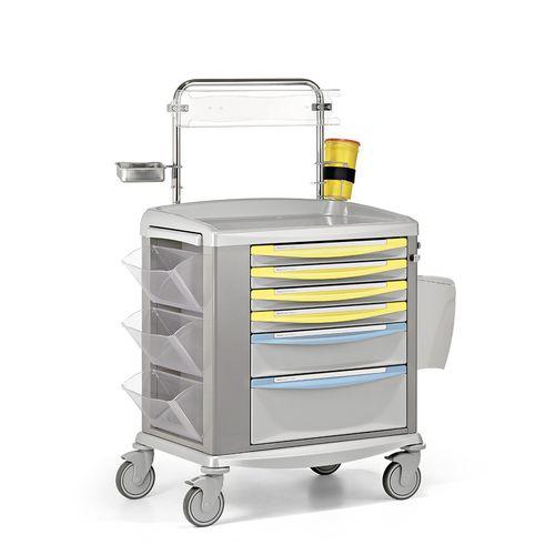 transport trolley / medication / 6-drawer / with side bin