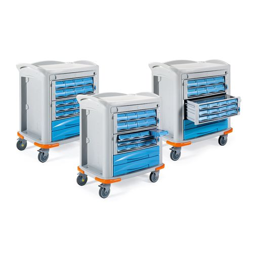 medicine distribution trolley / for medicine / with drawer / with tray