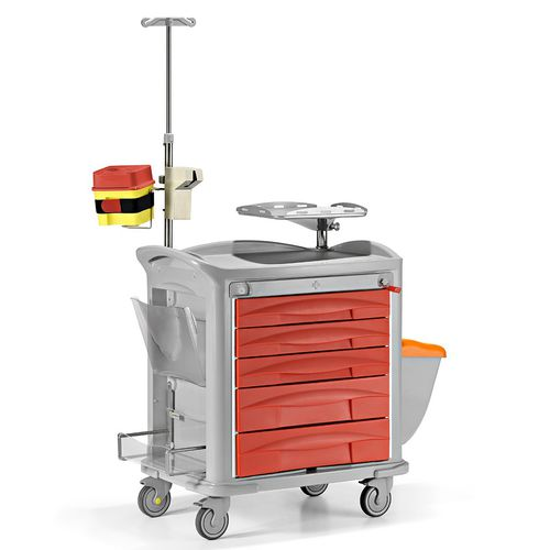 emergency trolley / storage / for instruments / for medical devices