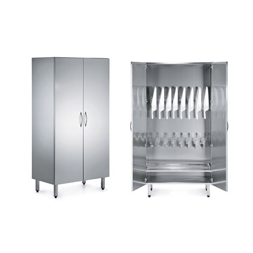 bedpan cabinet / hospital / with door / stainless steel