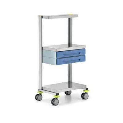 service trolley / for instruments / with drawer / 2-tray