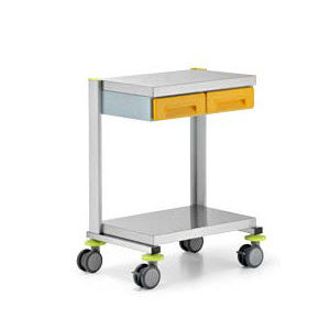 service trolley / equipment / for instruments / with drawer