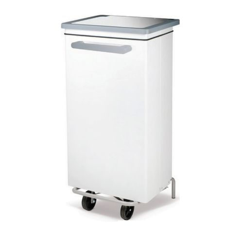 stainless steel waste bin / foot-operated / on casters