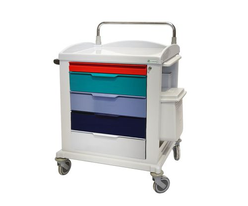 multi-function trolley / 5-drawer / with shelf / with tray