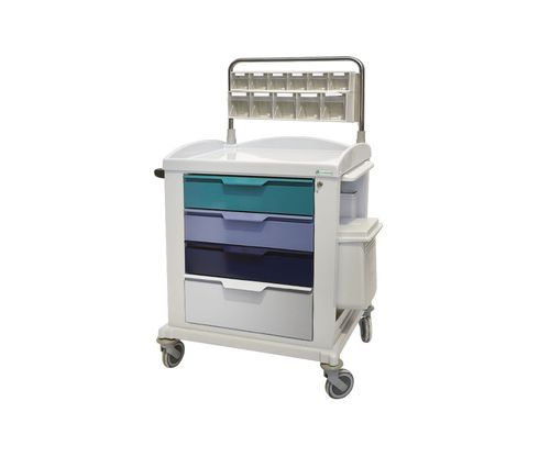 medicine distribution trolley / multi-function / 4-drawer / with shelf