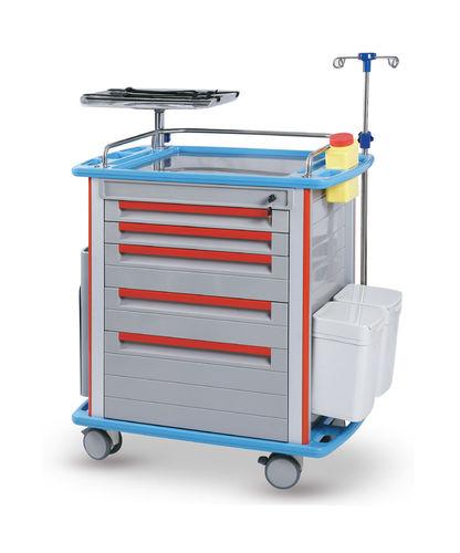emergency trolley / 5-drawer / with IV pole / with waste bin