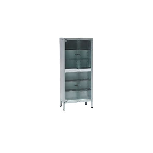 instrument cabinet / hospital / with shelf / with sliding door