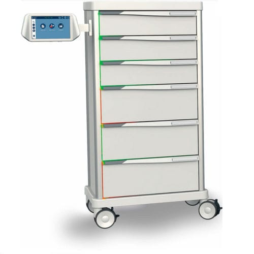 transport trolley / storage / automatic / with automatic closure