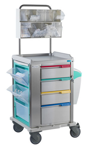 dressing trolley / catheter / 4-drawer / with waste bin