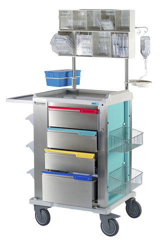 anesthesia trolley / catheter / 4-drawer / with basket