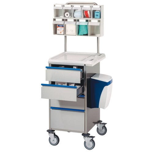 dressing trolley / 4-drawer / with waste bin / with shelf unit