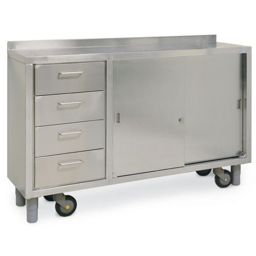 worktop with drawer / on casters / with door / stainless steel