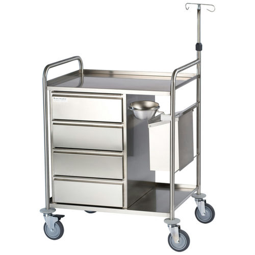 anesthesia trolley / 4-drawer / with shelf / with IV pole