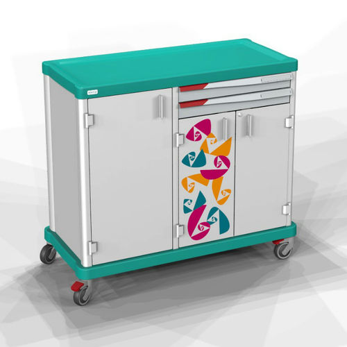 transport trolley / for linen / with shelf / 1-tray