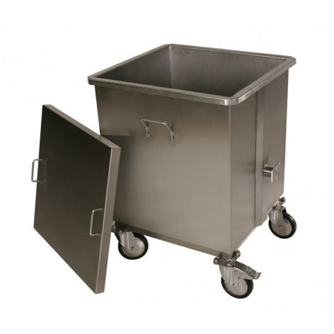 stainless steel waste bin / for veterinary facilities / on casters