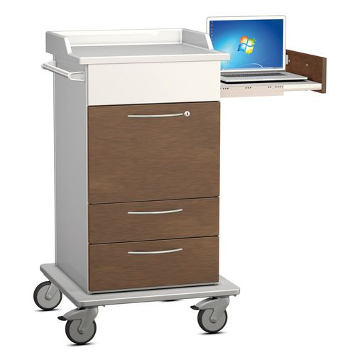 treatment cart / for medical devices / with drawer / with laptop support