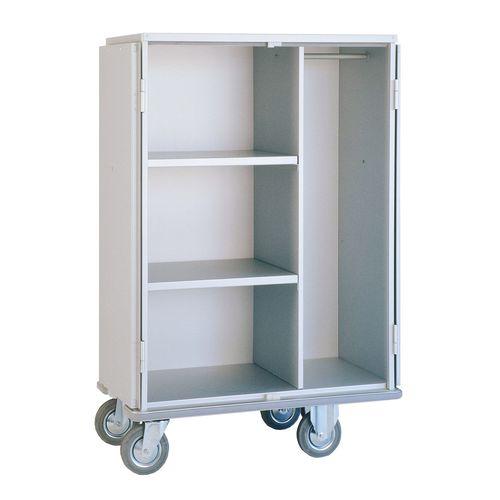 storage cart / for general purpose / 3-shelf / 2-door