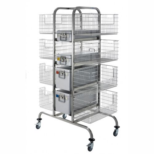 transport trolley / for sterilization baskets / with basket / medical