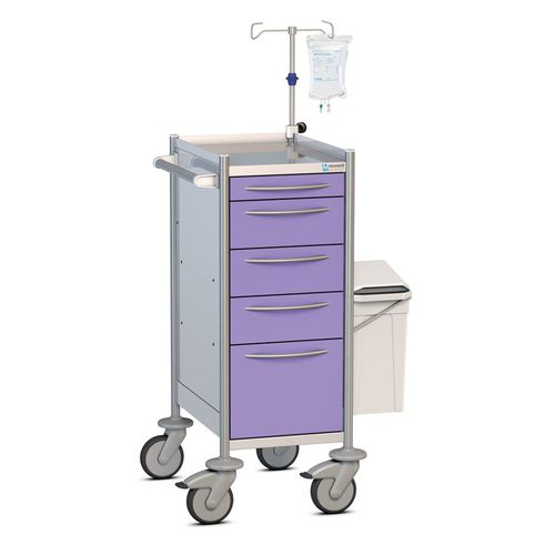 multi-function cart / for medical devices / with drawer / with waste bin