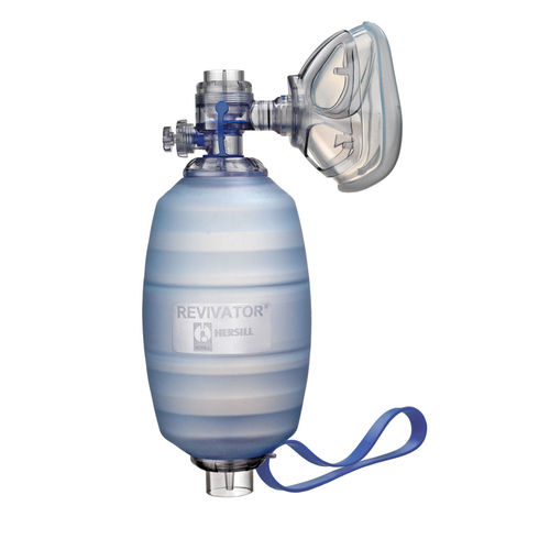 adult manual resuscitator / reusable / silicone / with pop-off valve