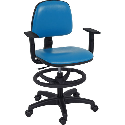 doctor's office stool / height-adjustable / on casters / with backrest