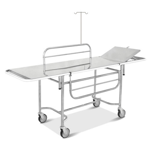 transport stretcher trolley / manual / with adjustable backrest / stainless steel