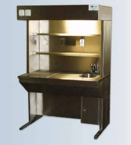 grossing laboratory workstation / floor-standing / with sink / with downdraft ventilation