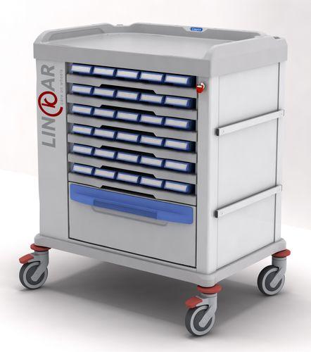 medicine distribution trolley / for medicine / with drawer
