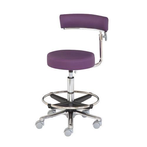 surgeon stool / height-adjustable / rotating / on casters