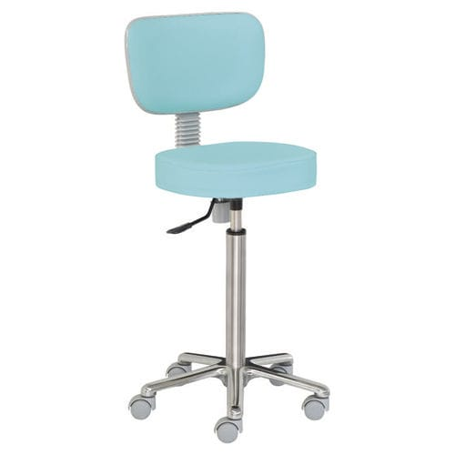 healthcare facility stool / height-adjustable / rotating / stainless steel