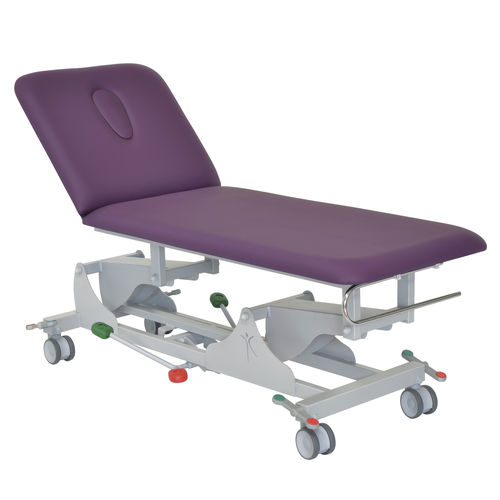 hydraulic examination table / height-adjustable / 2-section