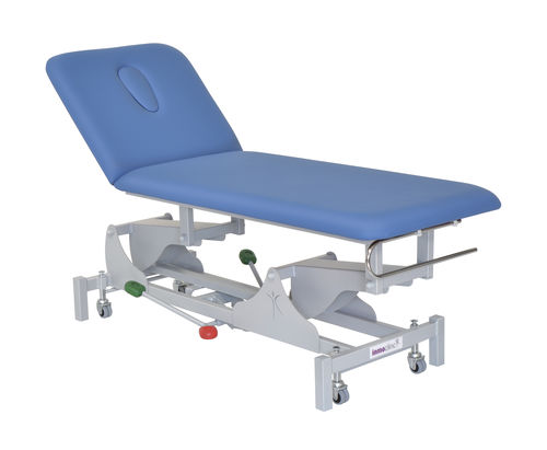 hydraulic examination table / height-adjustable / on casters / 2 sections